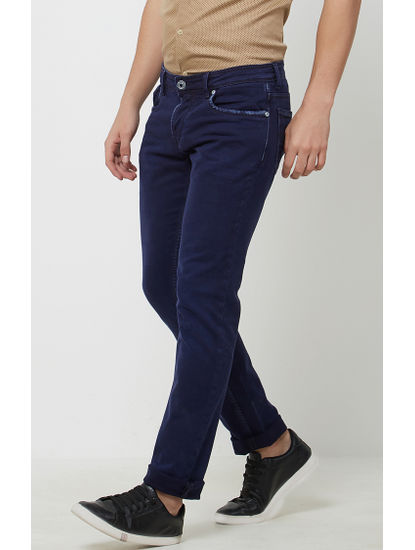 Ink Blue Solid Straight Jeans