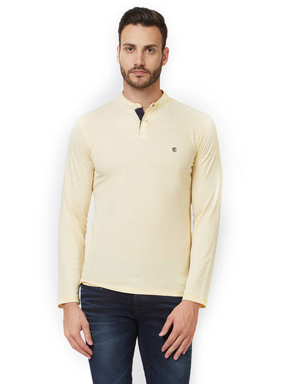 Solid Yellow Color Slim Fit T-Shirt