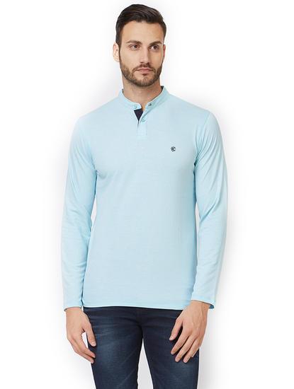 Solid Blue Color Slim Fit T-Shirt