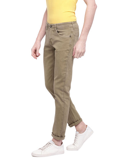 Beige Solid Straight Jeans
