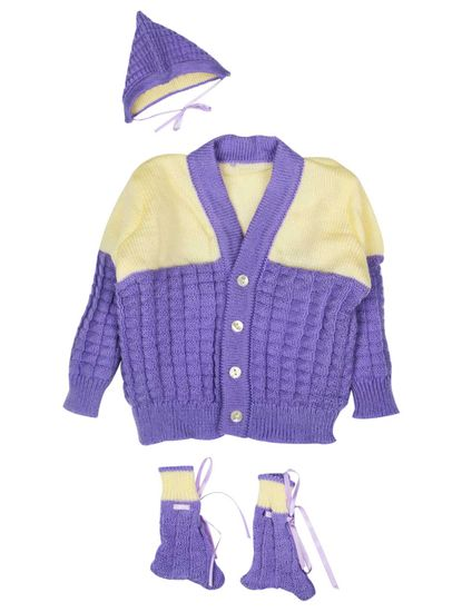 Mee Mee Baby Sweater Sets (Purple Cream)