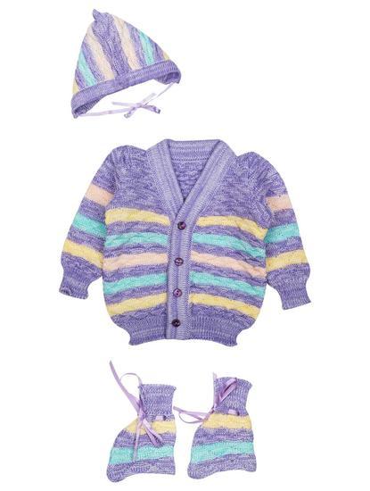Mee Mee Baby Sweater Sets (Purple Multi)