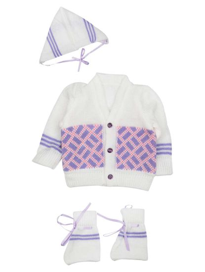 Mee Mee Baby Sweater Sets (White, Purple, Neon Pink)