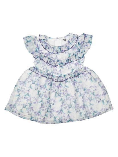 Mee Mee Baby Girls Party Frocks (White,Purple)