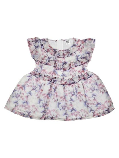 Mee Mee Baby Girls Party Frocks (White,Maroon)