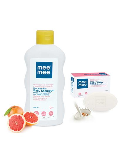 Mee Mee Mild Baby Shampoo with Fruit Extracts, 500ml & Nourishing Baby Soap with Almond & Milk Extracts 75g