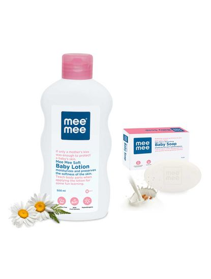 Mee Mee Moisturising Baby Lotion with Fruit Extracts, 500ml & Nourishing Baby Soap with Almond & Milk Extracts 75g