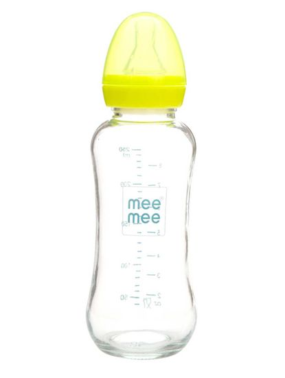 Mee Mee Premium Glass Feeding Bottle - Blue (240 ml)