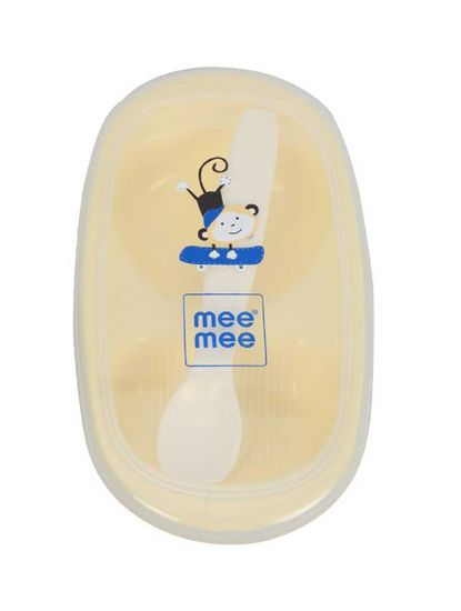 Mee Mee Air-Tight Feeding Bowl with Spoon, Yellow