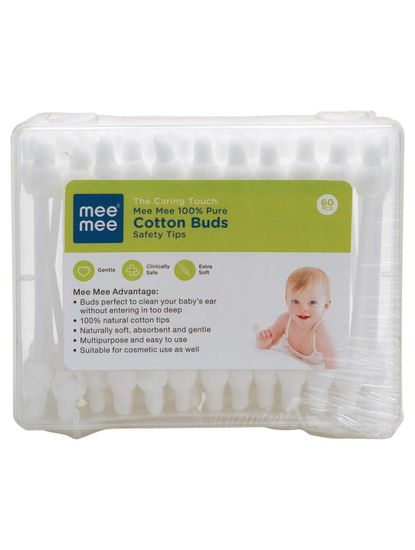 Mee Mee 100% Pure Cotton Buds (White, 60 Pieces per Pack)
