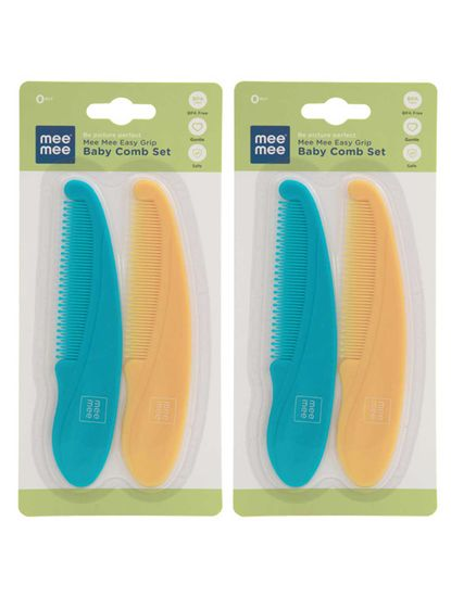 Mee Mee Easy Grip Baby Comb, Blue/Orange (Pack of 2)