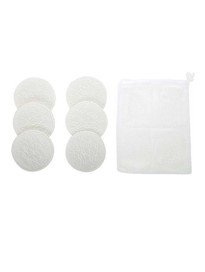 Mee Mee Washable Cotton Maternity Breast Pads, 6 Pieces, White