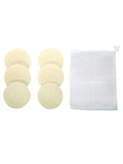 Mee Mee Washable Cotton Maternity Breast Pads, 6 Pieces, Cream