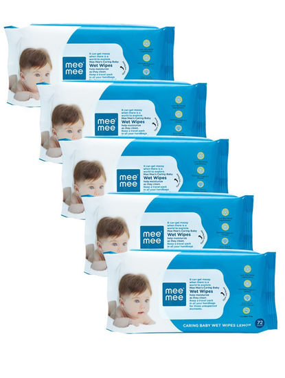 Mee Mee Caring Baby Wet Wipes, Lemon Fragrance, 72 Pieces (Pack of 5)