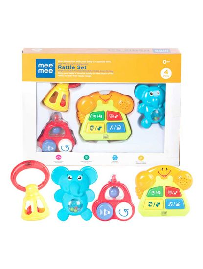 Mee Mee Baby Rattle Set, Multi Color (3 Pieces)