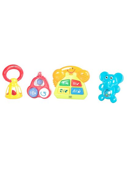 Mee Mee Baby Rattle Set, Multi Color (4 Pieces)