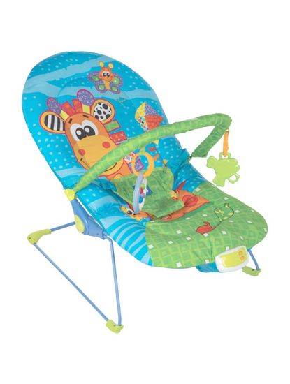 Mee Mee Vibrating and Soothing Baby Bouncer with Music and 2 Position Cushioned Seating, Light Blue