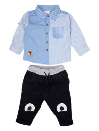 MEE MEE BOYS FULL SLEEVE SHIRT WITH KNITS PANT SET