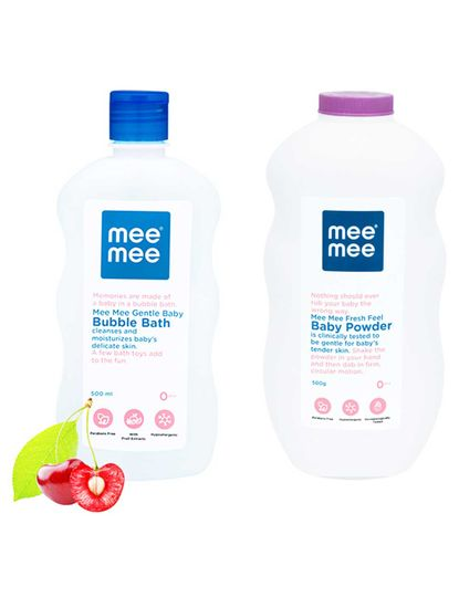 Mee Mee Gentle Baby Bubble Bath and Fresh Feel Baby Powder (500 ml)