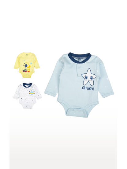 Mee Mee Boys Full Sleeve Bodysuit Pack Of 3 (Light Yellow)