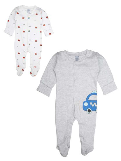 Mee Mee Kids White Printed Romper Pack Of 2