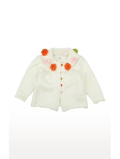 Mee Mee Full Sleeve Girls Floral Applique Sweater (Off White)