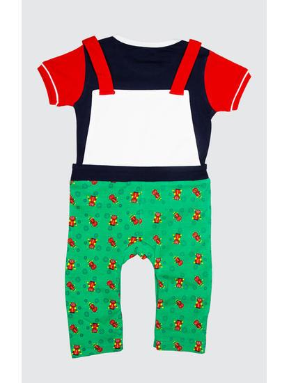 Mee Mee Half Sleeve T-Shirt With Robot Printed Dunagree Set (Blue_Green)