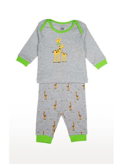 Mee Mee Full Sleeve Unisex Giraffe Print Night Suit (Grey_Melange)