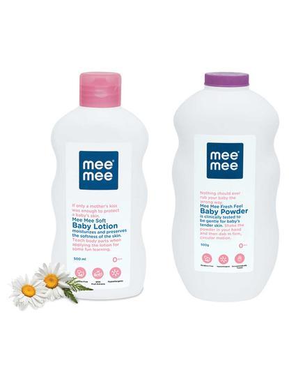 Mee Mee Soft Baby Lotion & Fresh Feel Baby Powder (500 ml)