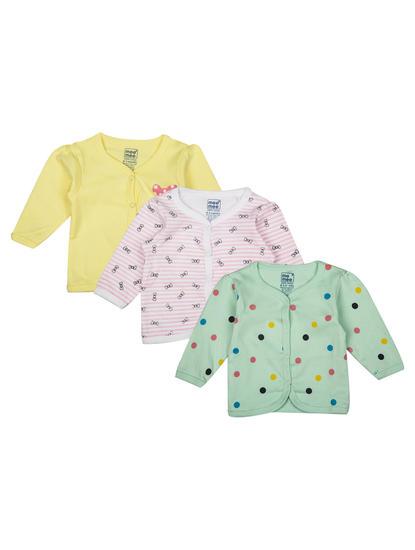 Mee Mee Girls Full Sleeve Solid & Printed Jabla Pack Of 3