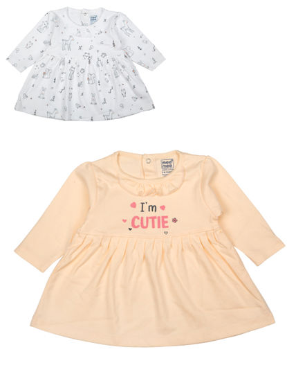 Mee Mee Baby Girls Frocks, Off white, Coral (Pack of 2)