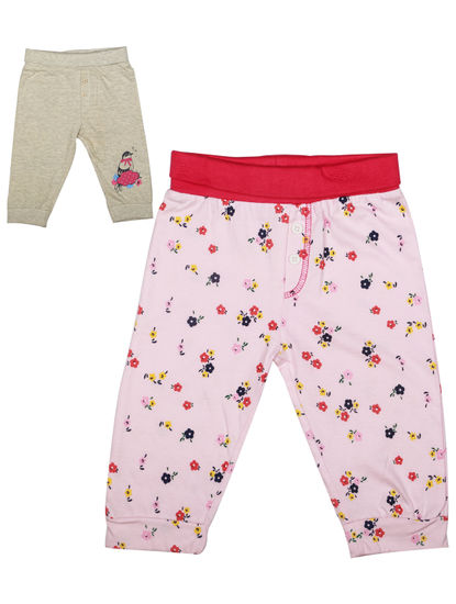 Mee Mee Girls Floral Printed & Grey Solid Full Length Trackpant Pack Of 2