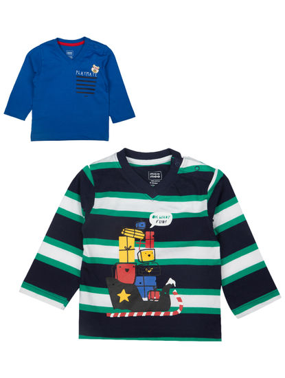 Mee Mee Boys Full Sleeve Blue Striper & Solid T-Shirt Pack Of 2