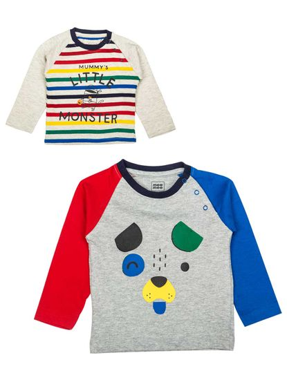 Mee Mee Boys Full Sleeve Multicolour T-Shirt Pack Of 2