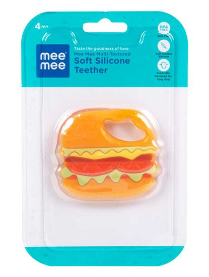 Mee Mee Multi-Textured Soft Silicone Teether (Orange)