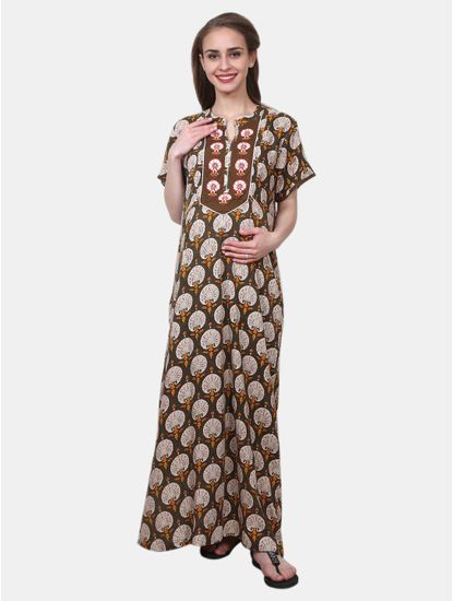 Mee Mee Maternity Cotton Night Gown with Zipper for Feeding (Brown_XXL)