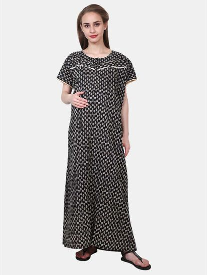 Mee Mee Maternity Cotton Night Gown with Zipper for Feeding (Assorted_FREE SIZE)