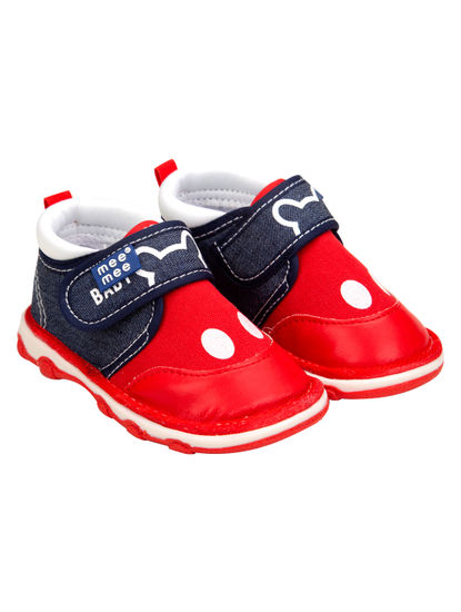 Mee Mee First Walk Baby Shoes with Chu Chu Sound (Red)