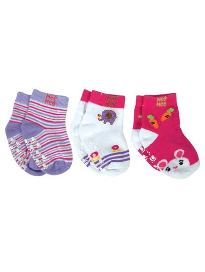Mee Mee Cozy Feet Anti-Skid Baby Socks (Pack of 3) (Colours May Vary)