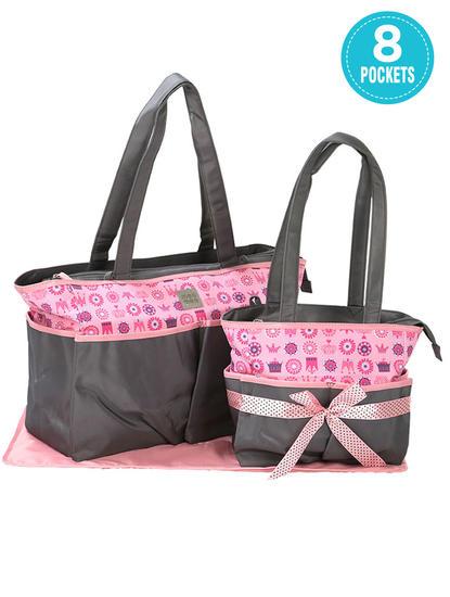 Mee Mee Baby Nursery Diaper Bag Set, Grey, 2 Pieces