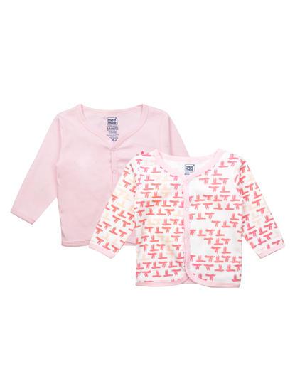 Mee Mee Kids White Printed Jabla Pack Of 2 (Baby Pink)