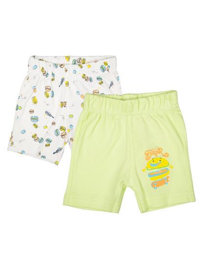 Mee Mee Kids White Printed Short Pack Of 2 (Sea Green)