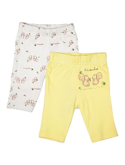 Mee Mee Unisex Full Length Lemon & White Printed Leggings Pack Of 2