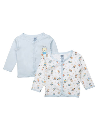Mee Mee Kids White Printed Jabla Pack Of 2 (Sky Blue)