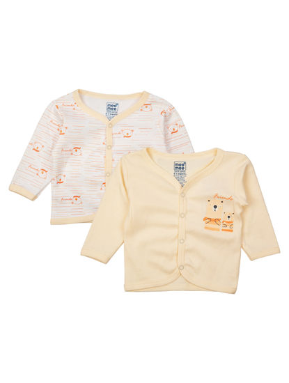 Mee Mee Kids White Printed Jabla Pack Of 2 (Peach)