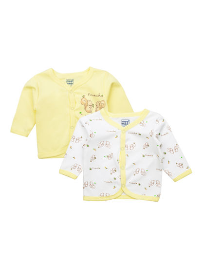 Mee Mee Kids White Printed Jabla Pack Of 2 (Lemon)