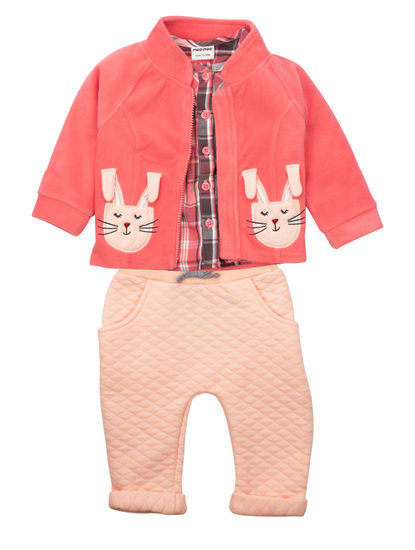 Mee Mee Girls Full Sleeve  Top With Leggings And Jacket Set
