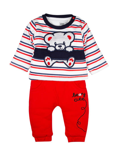 Mee Mee Full Sleeve Boys Leggings Set (Red_Navy Stripes)