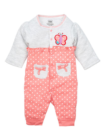 Mee Mee Full Sleeve Coral Polka With Butterfly Applique Romper Padded