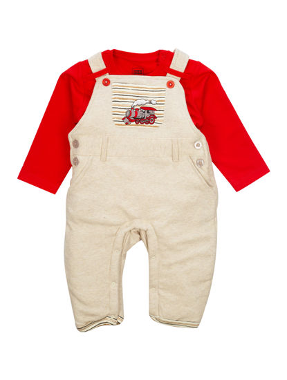 Mee Mee Full Sleeve Boys Dungaree Set (Beige_Melange_Red)